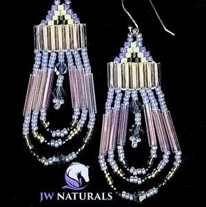 Lilac Purple Swarovski Beaded Earrings